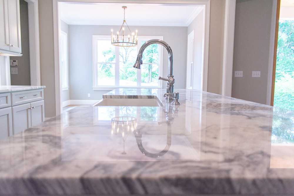 Mont Blanc marble kitchen island close up