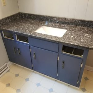 Blue Pearl Granite bathroom vanity top install