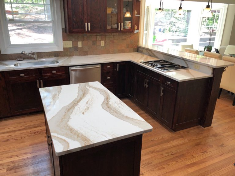 Brittanica Gold Quartz kitchen island countertops