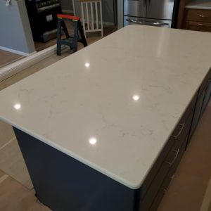 Colton Quartz kitchen island countertop install