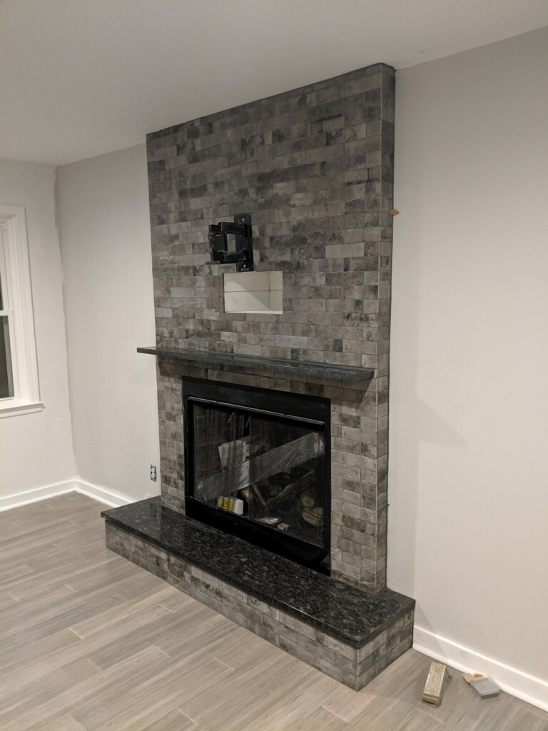 Granite fireplace hearth and mantle