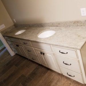 Sienna Bordeaux Granite Vanity Top White Cabinets