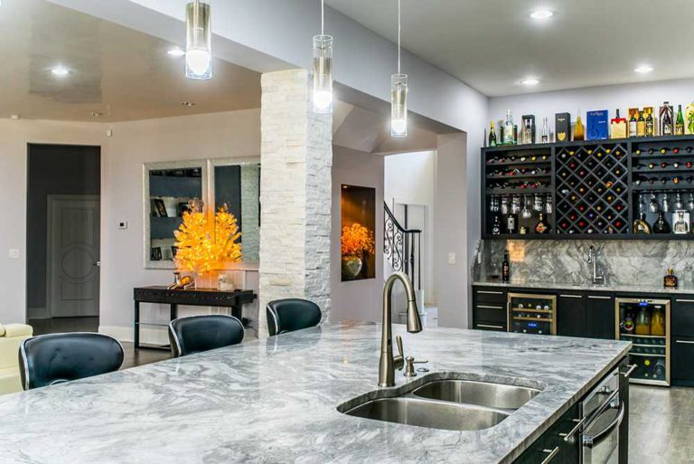 Super White Marble kitchen island countertop