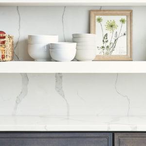 Calacatta Classique Quartz countertop and backsplash