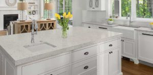 Carrara Mist Quartz countertop kitchen island