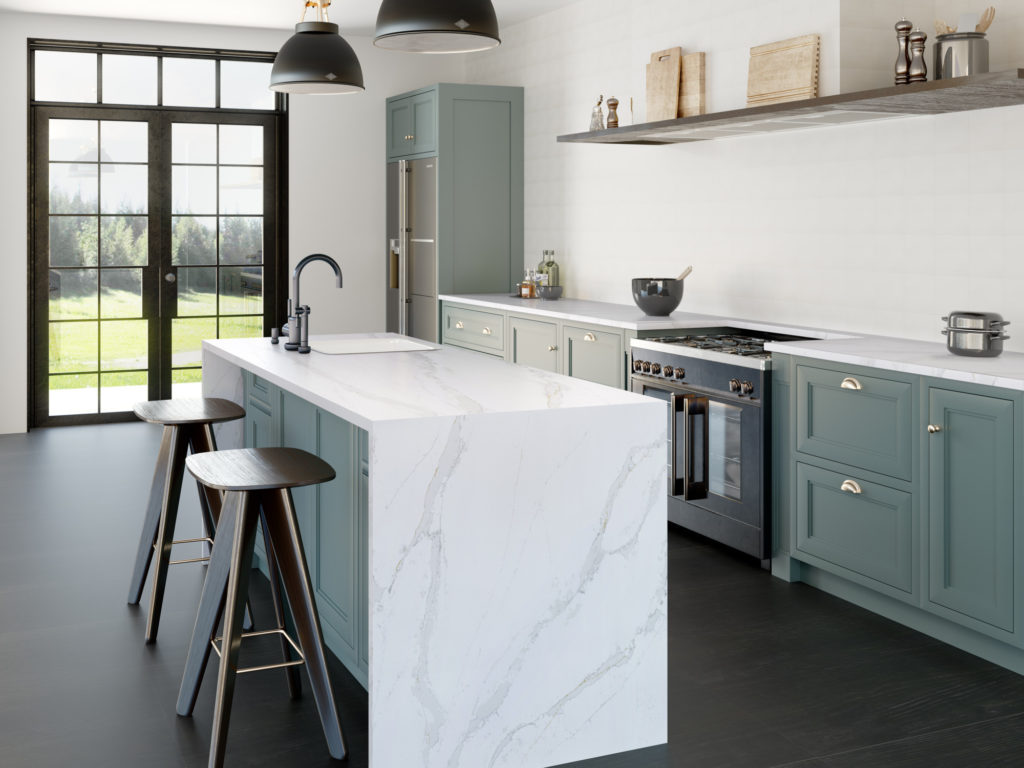 Calacatta Gold Quartz Kitchen Island Countertops