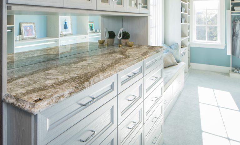 Beaumont quartz used in a spacious master closet and retreat space