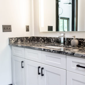Black Marinace Bathroom Vanity White Cabinets