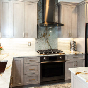 Custom Blue Roma quartzite kitchen backsplash