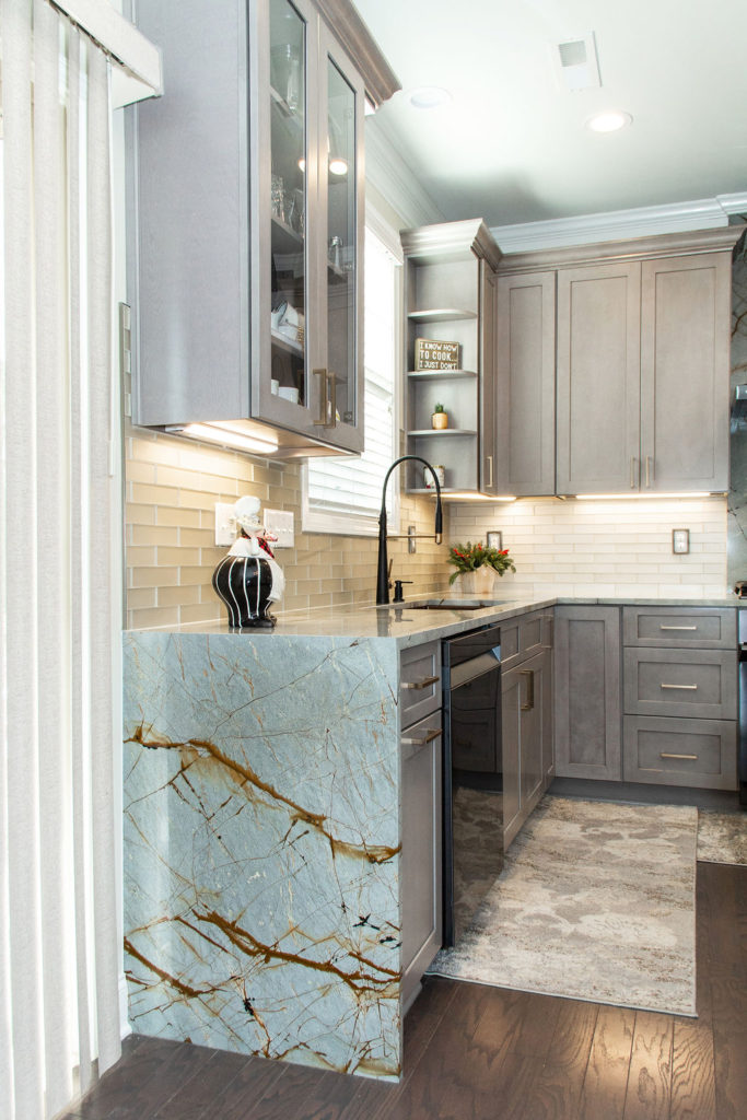Blue Roma quartzite kitchen countertops with waterfall edge