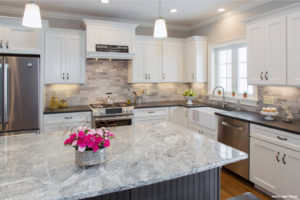 Black Pearl Granite Countertops with Silver Cloud Granite Island