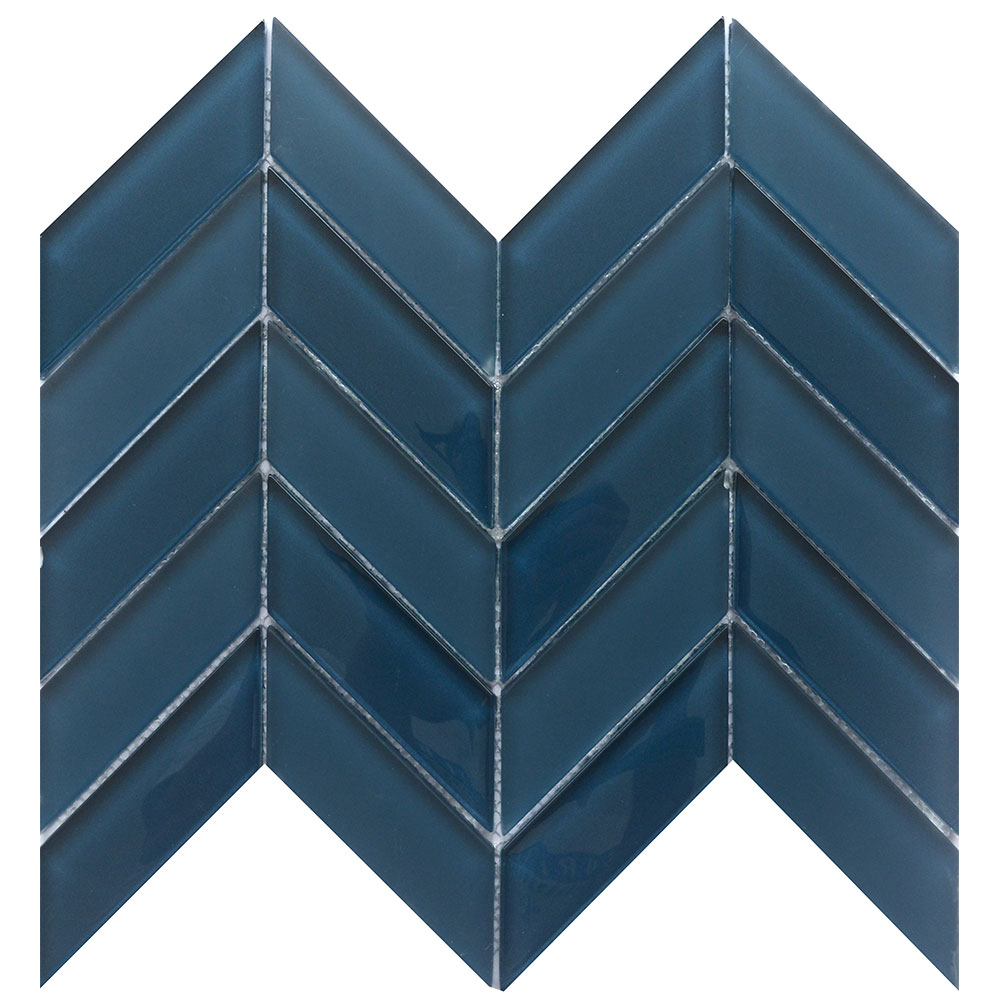 Emser Edge Navy Blue Herringbone Mosaic Tile