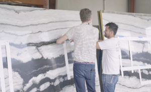 Customer and Fabricator go over a Countertop Template